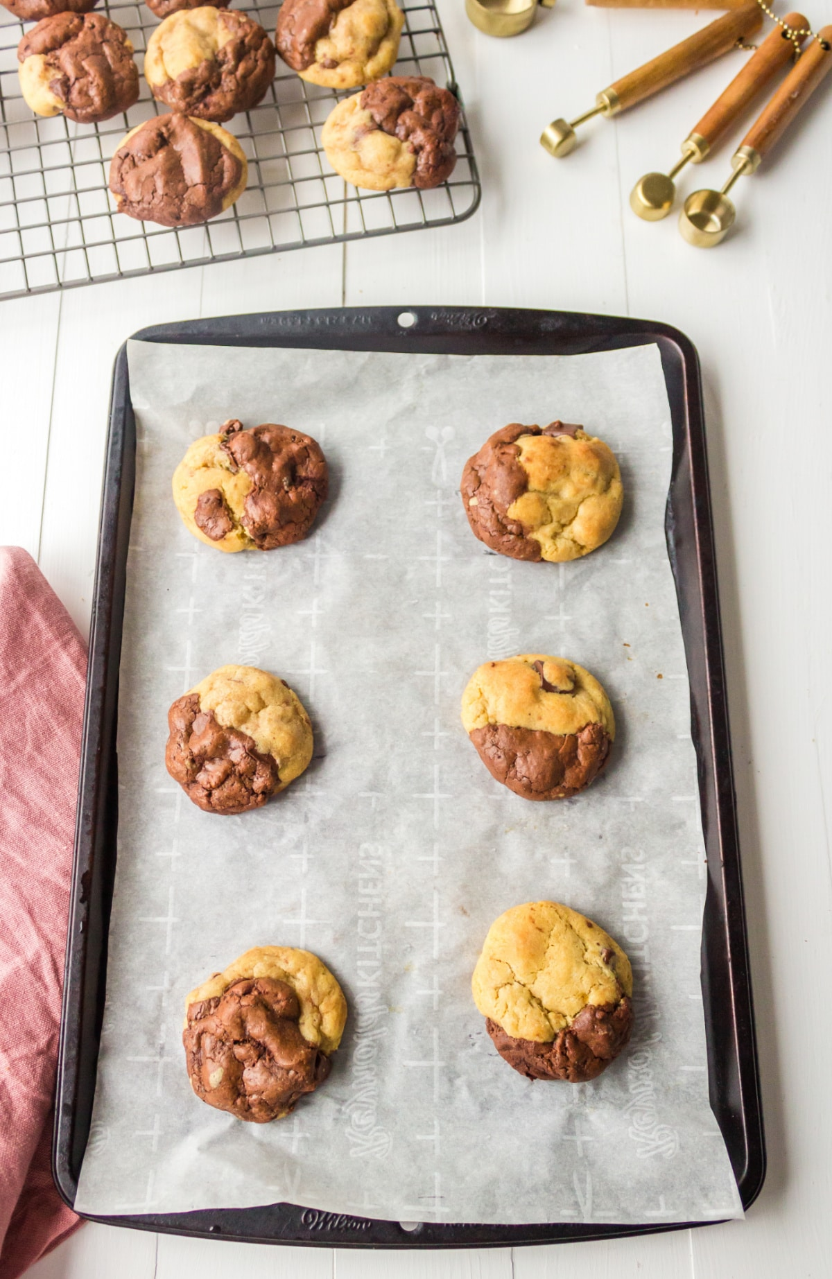 Baked brookies on a baking sheet