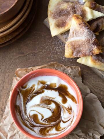Cinnamon Roll Dip with Cinnamon Sugar Naan Chips