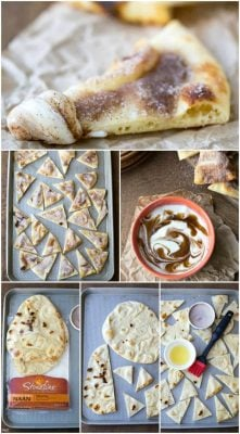 Cinnamon Roll Dip with Cinnamon Sugar Naan Chips