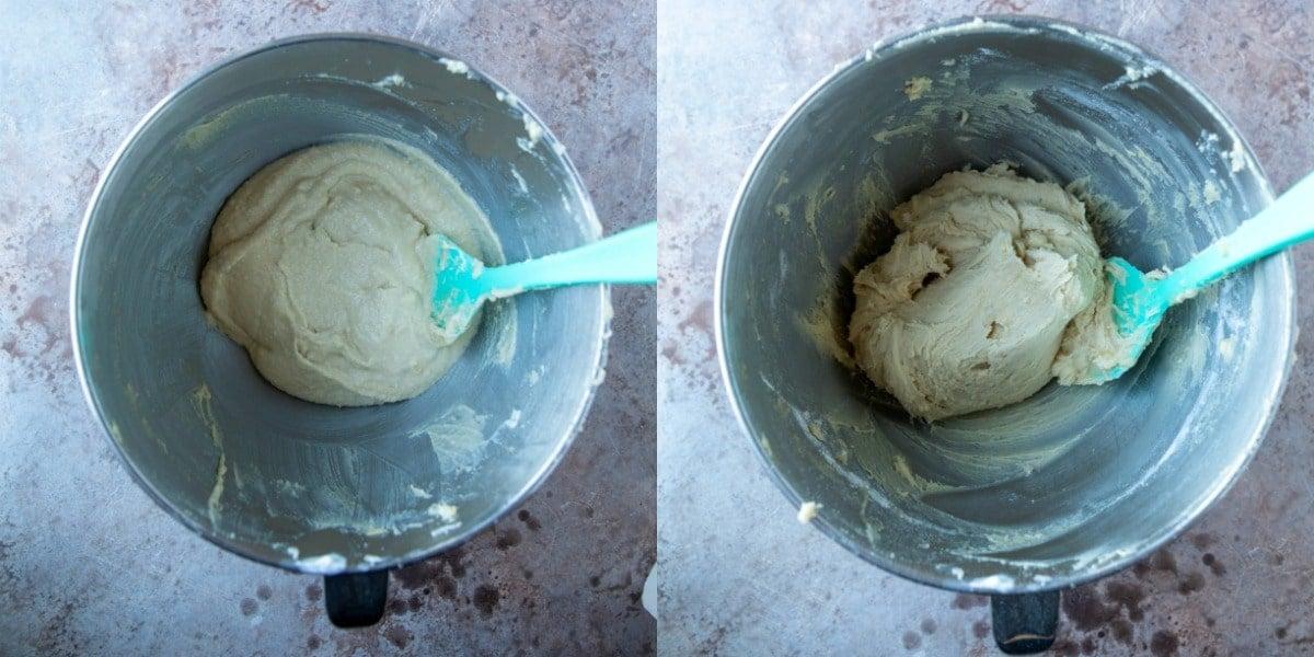 Sour cream sugar cookie dough in a silver mixing bowl