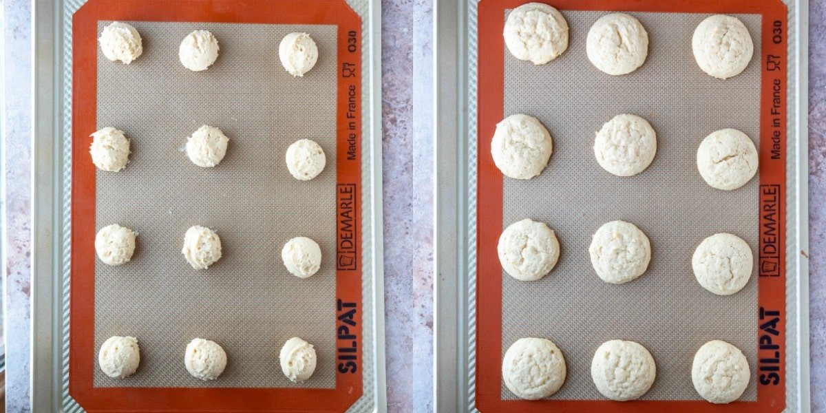 Baked and unbaked sugar cookies on a baking sheet