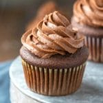 Chocolate Cupcake topped with chocolate frosting