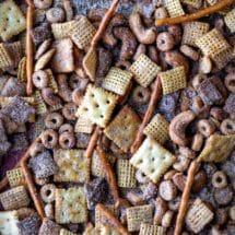 Close up photo of cinnamon sugar chex mix