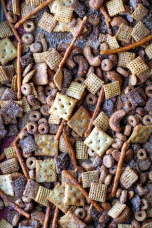 Close up photo of cinnamon sugar chex mix