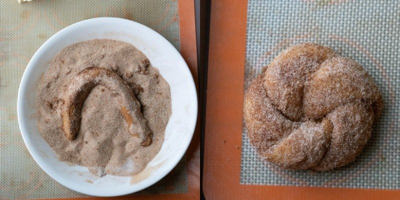 Dough in a dish of cinnamon sugar