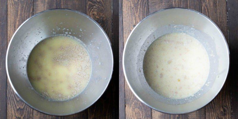 Milk yeast and water in a silver mixing bowl