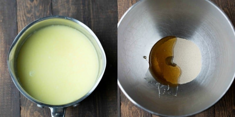 Honey and yeast in a silver mixing bowl