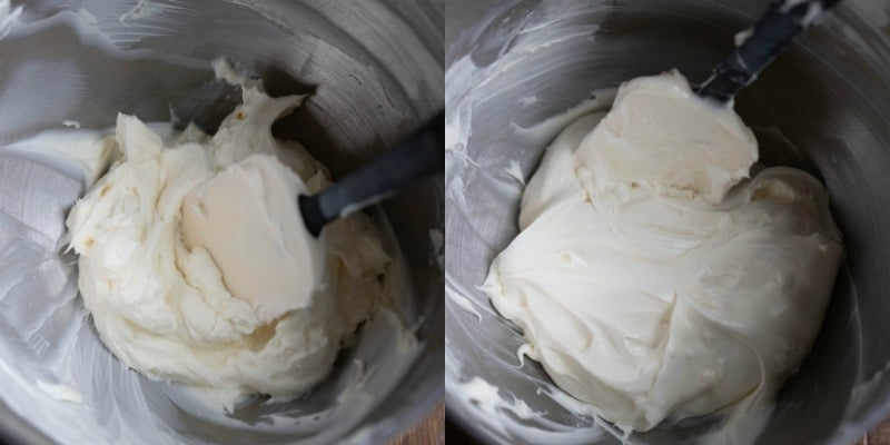 Cream cheese in a mixing bowl for cream cheese frosting