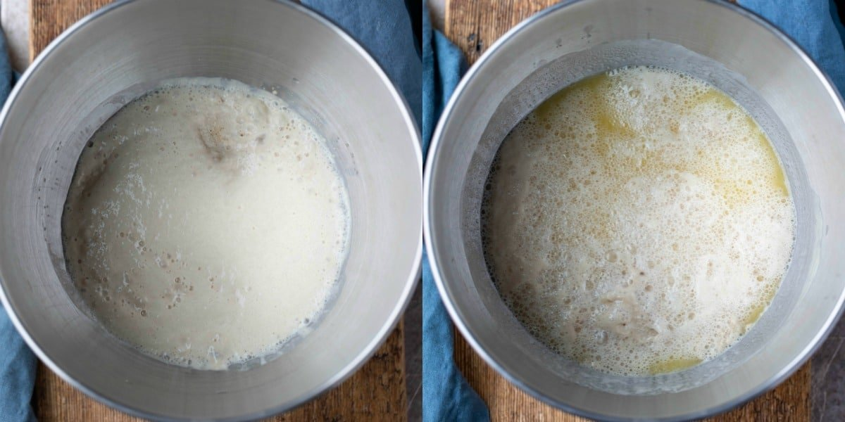 water and yeast in a silver mixing bowl