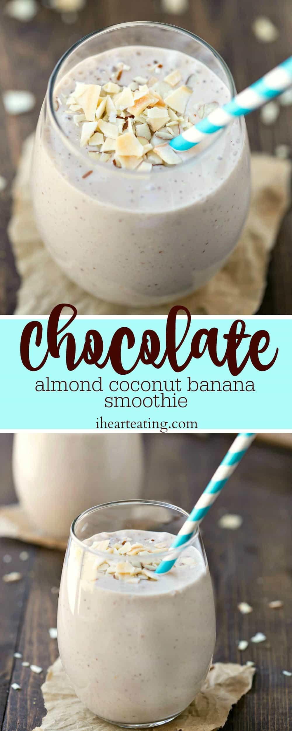 Chocolate Almond Coconut Banana Smoothie Recipe