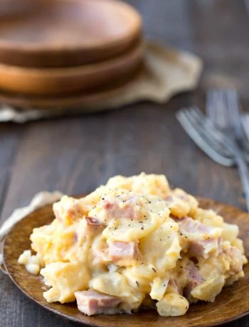 Slow Cooker Scalloped Potatoes with Ham