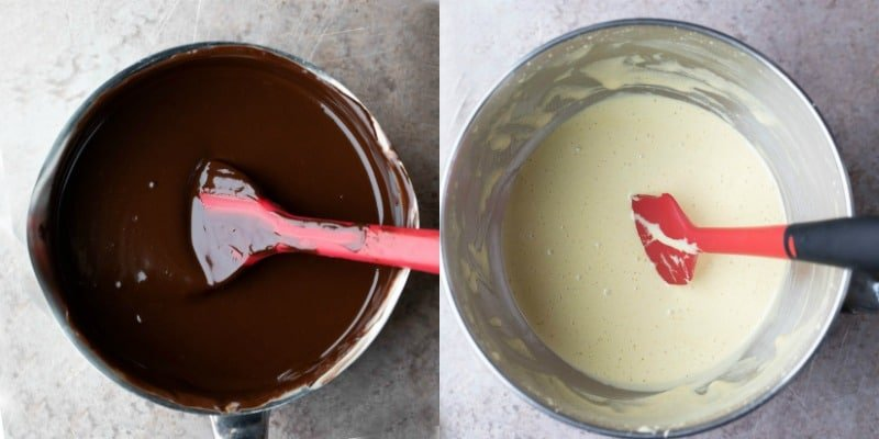 Melted butter and chocolate in a saucepan
