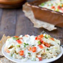 Creamy Salsa Verde Chicken Enchiladas