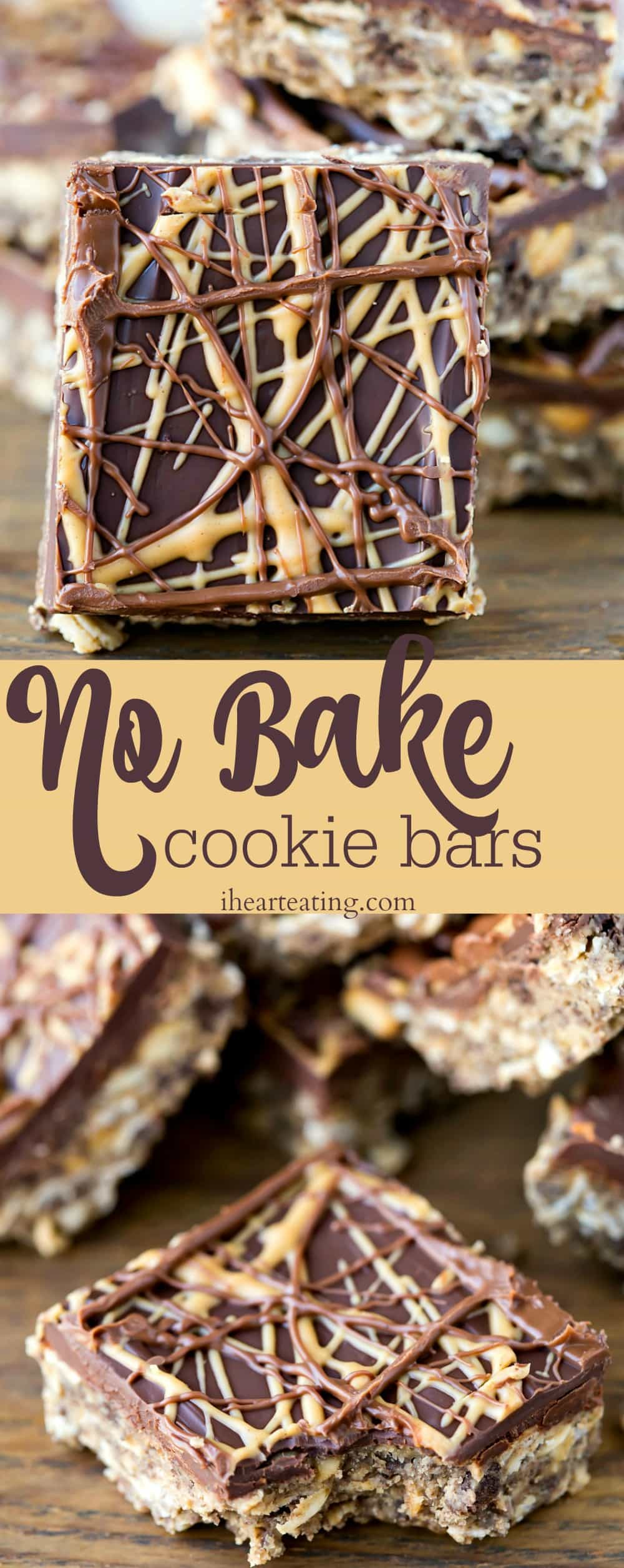 No Bake Cookie Bars are an easy, no-bake dessert recipe that combines chocolate and peanut butter in one yummy cookie bar!