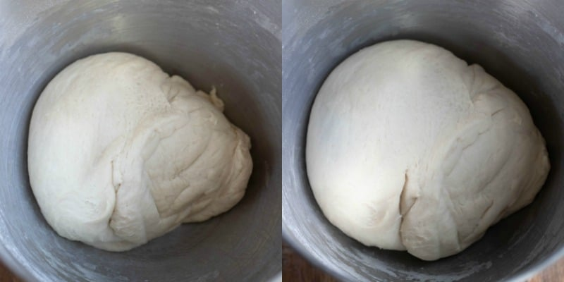Dough in a silver mixing bowl