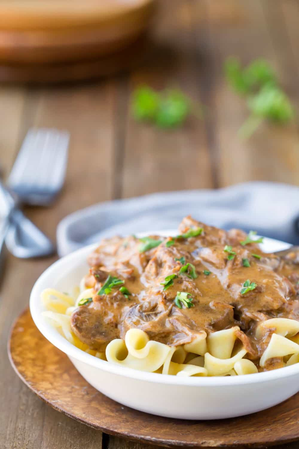 Slow Cooker Beef Stroganoff over egg noodles