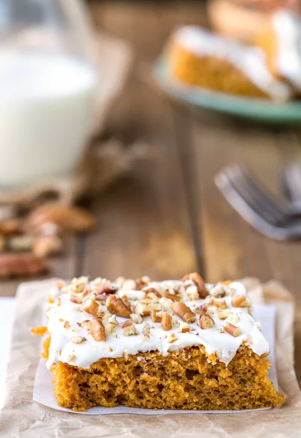 Pumpkin Bar topped with cream cheese and toasted pecans