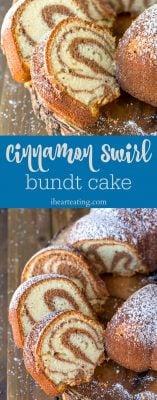 cinnamon swirl bundt cake picture collage