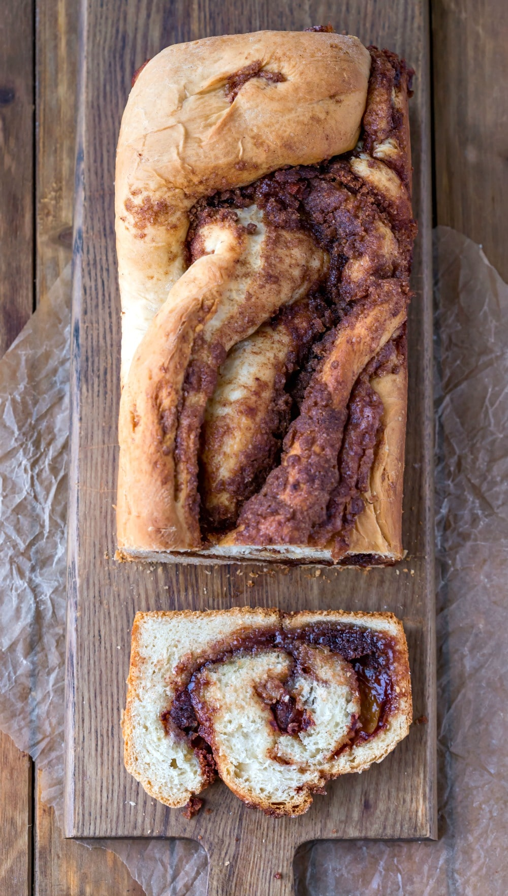 Cinnamon Twist Bread with a slice cut