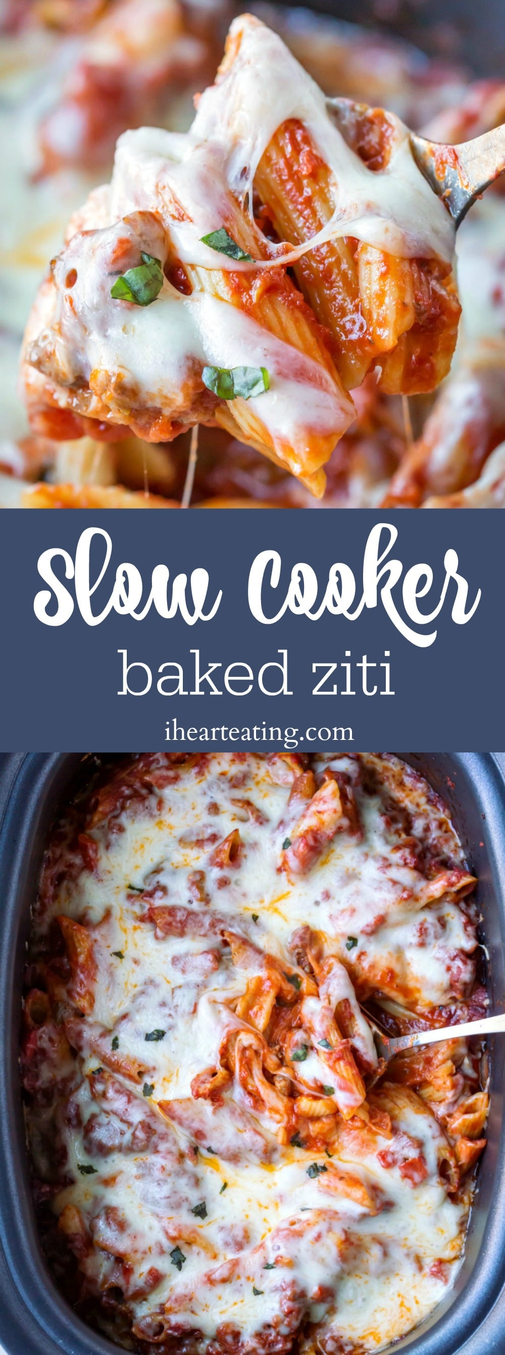 Slow Cooker Baked Ziti is an easy crock pot pasta dinner that's perfect for weeknight meals. The pasta cooks right in the sauce!