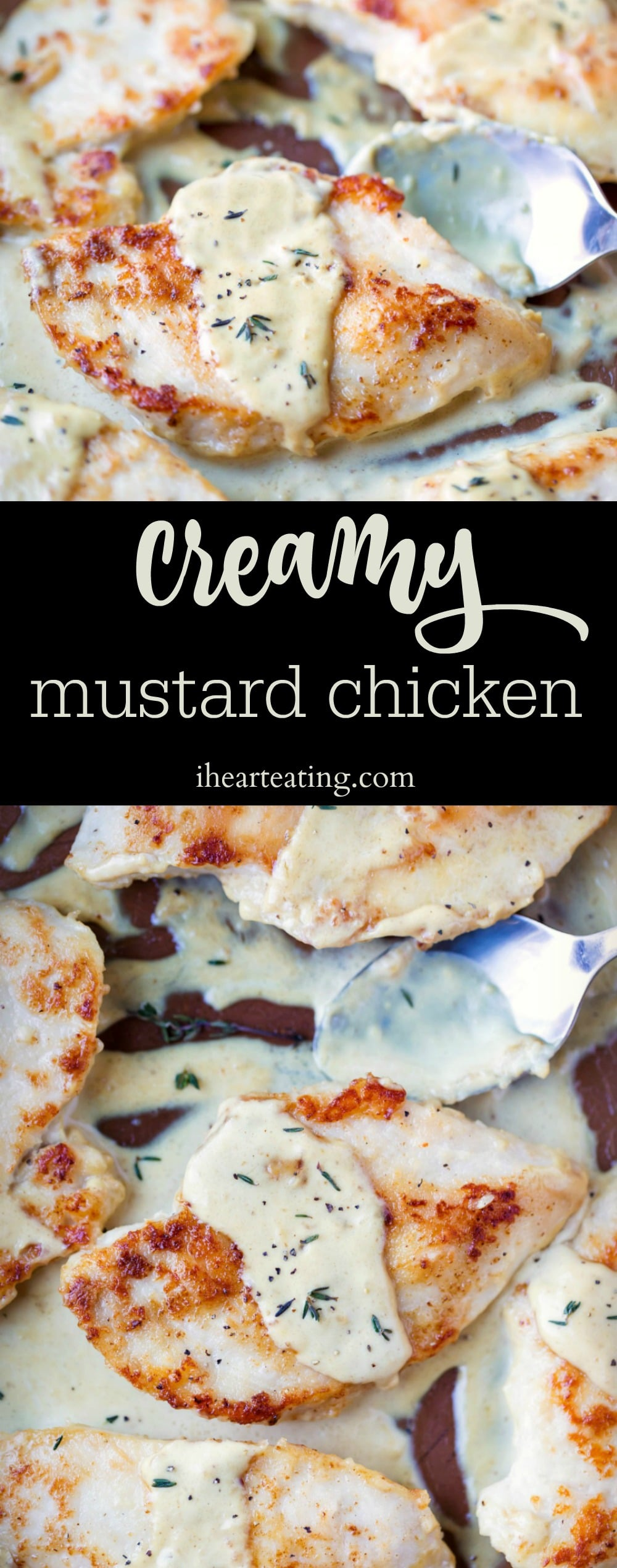 Creamy Mustard Chicken Recipe is a delicious skillet chicken dinner recipe that takes browned chicken and tops it with a creamy mustard sauce for an easy 30 minute meal! #chicken #dinner #skillet #recipes