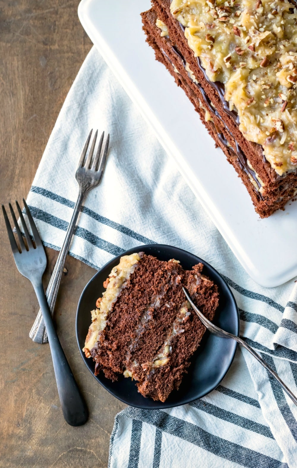 Slice of homemade German chocolate cake