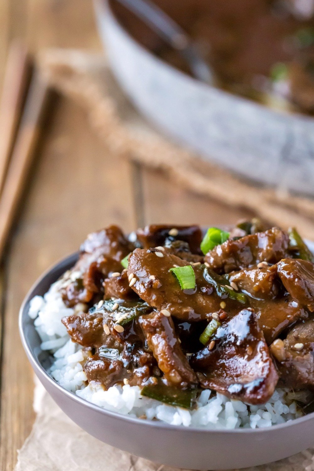 Mongolian Beef in a dish over rice