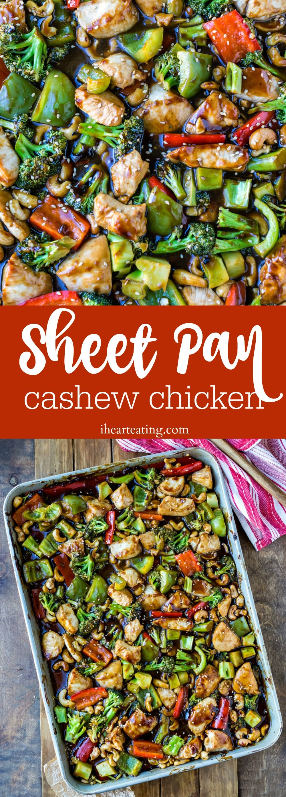 Easy dinner recipe! Sheet pan cashew chicken is a tasty 30 minute meal that's great for weeknights or for meal prep.