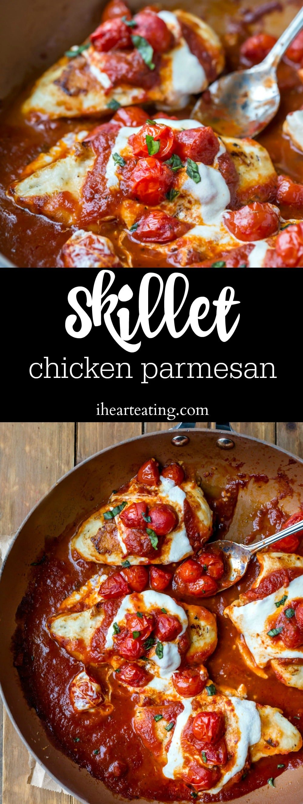 Skillet Chicken Parmesan Recipe is a skinny chicken parmesan dinner recipe that is ready in less than 30 minutes.