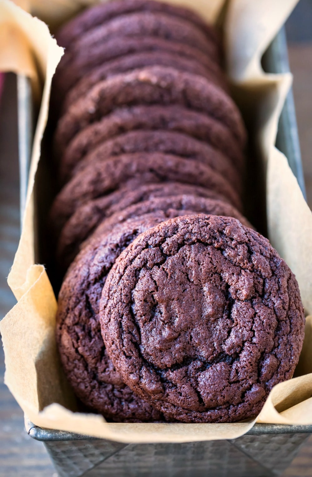 Chewy Chocolate Cookies in a container