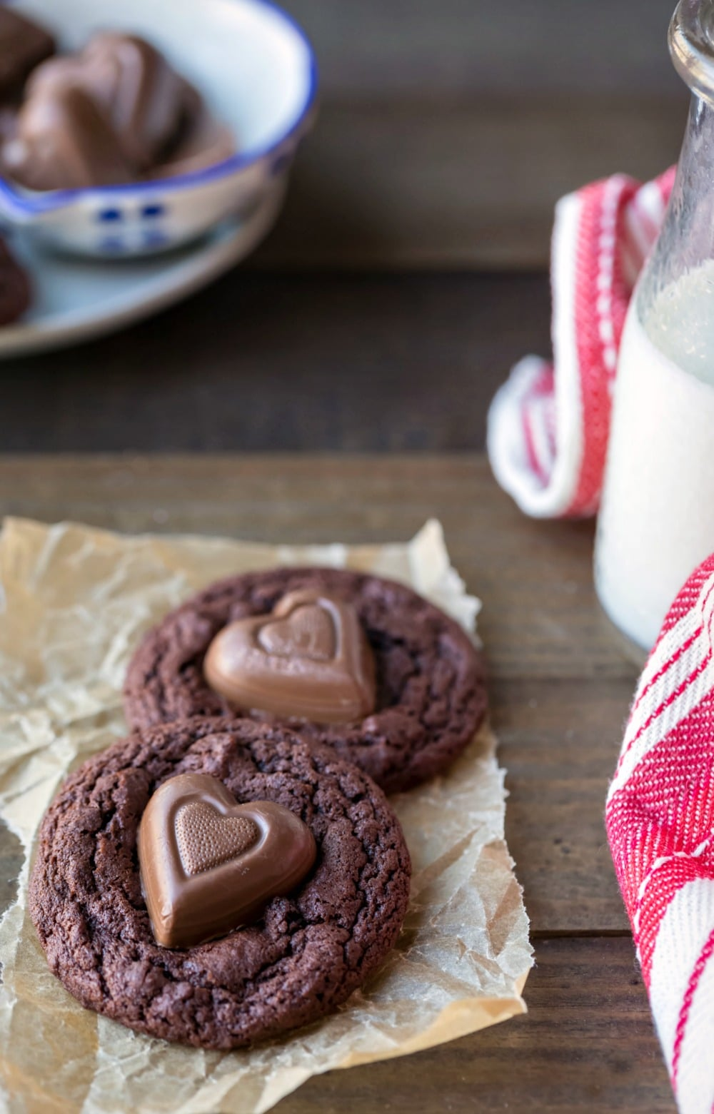 Chewy Chocolate Cookies with Chocolate Hearts