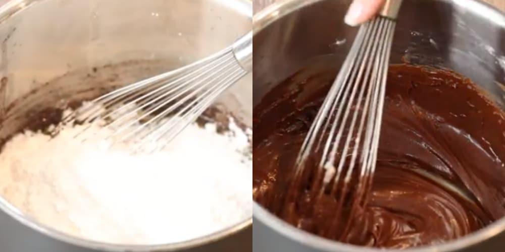 Powdered sugar in a silver saucepan.