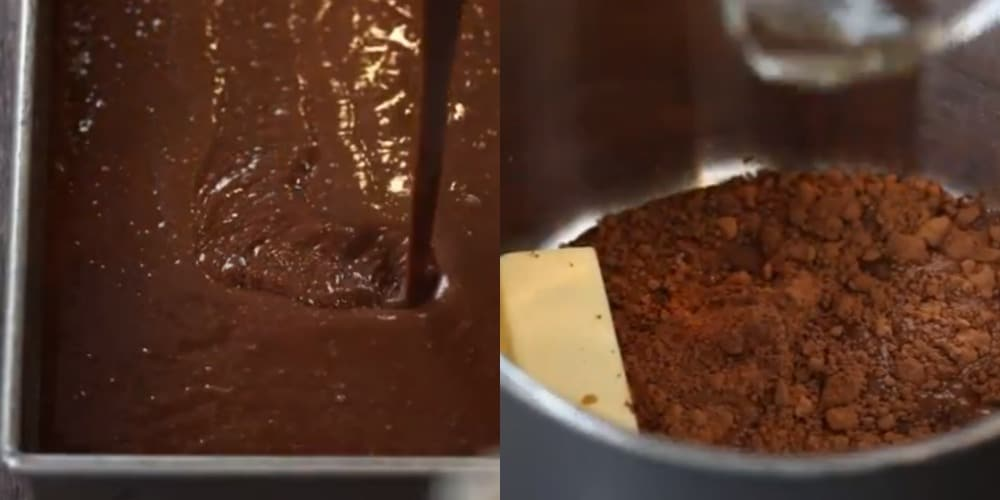 Chocolate cake batter pouring into a pan