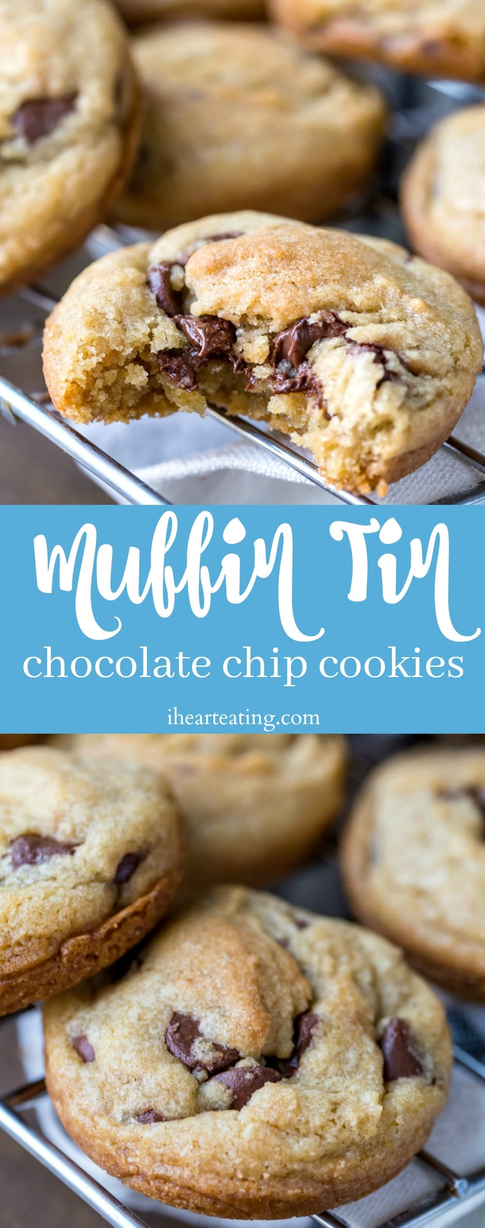 Easiest chocolate chip cookie recipe! These soft chocolate chip cookies are baked right in a muffin tin.