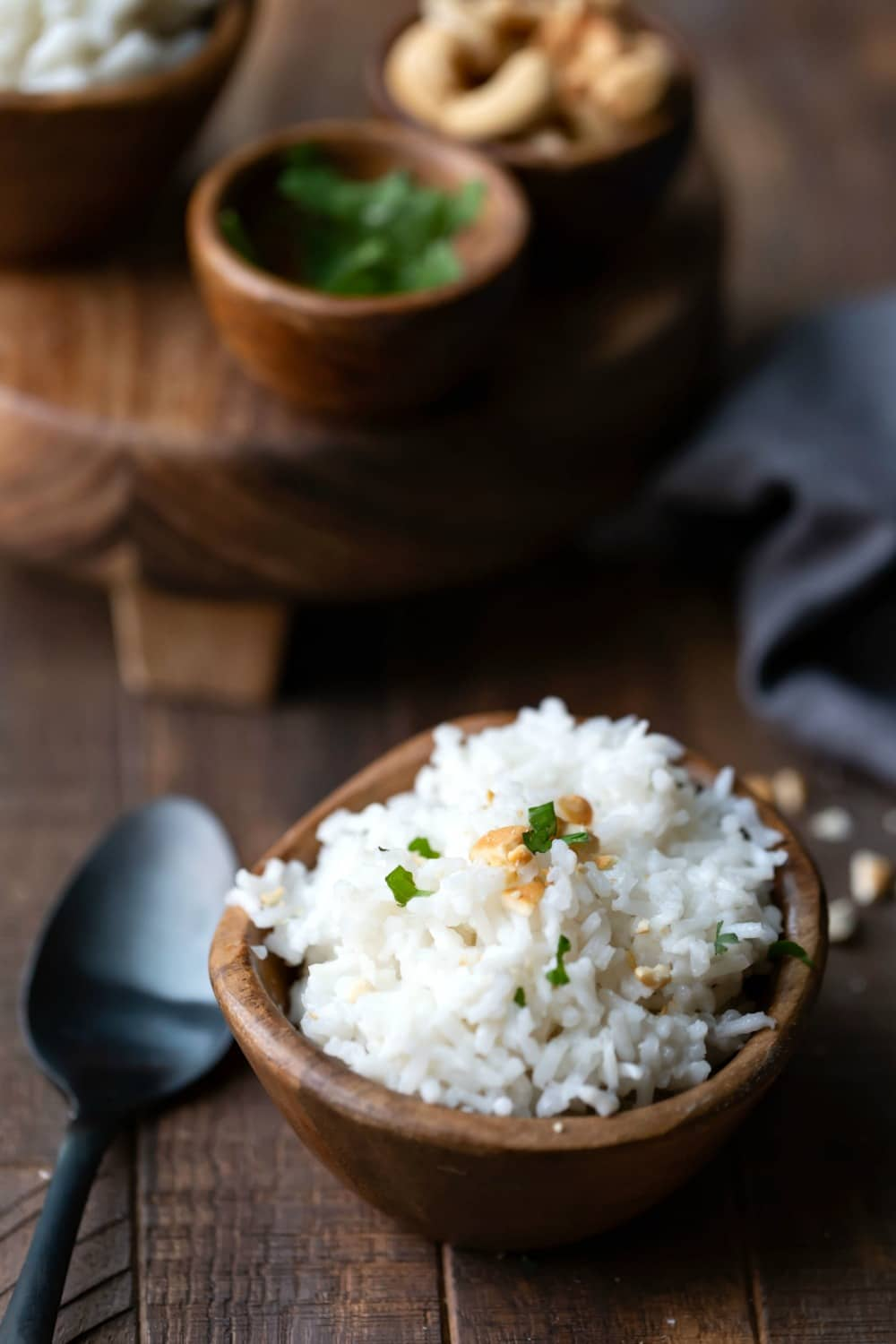 Coconut rice topped with cilantro and cashews