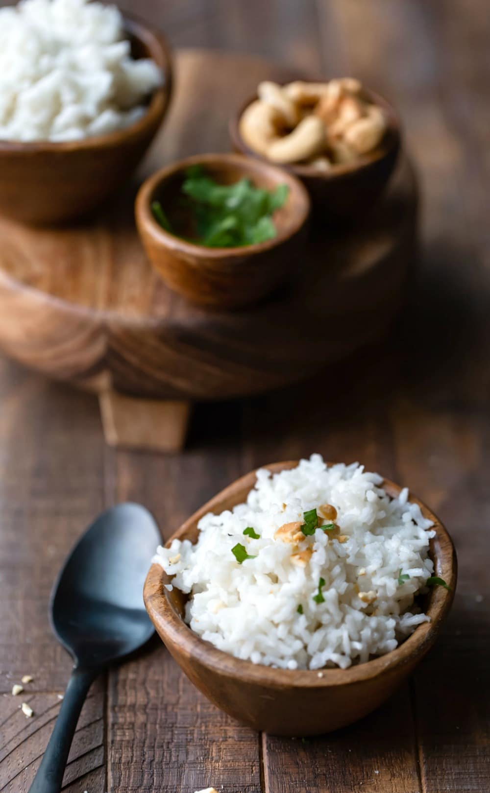Coconut Rice in a brown wooden bowl