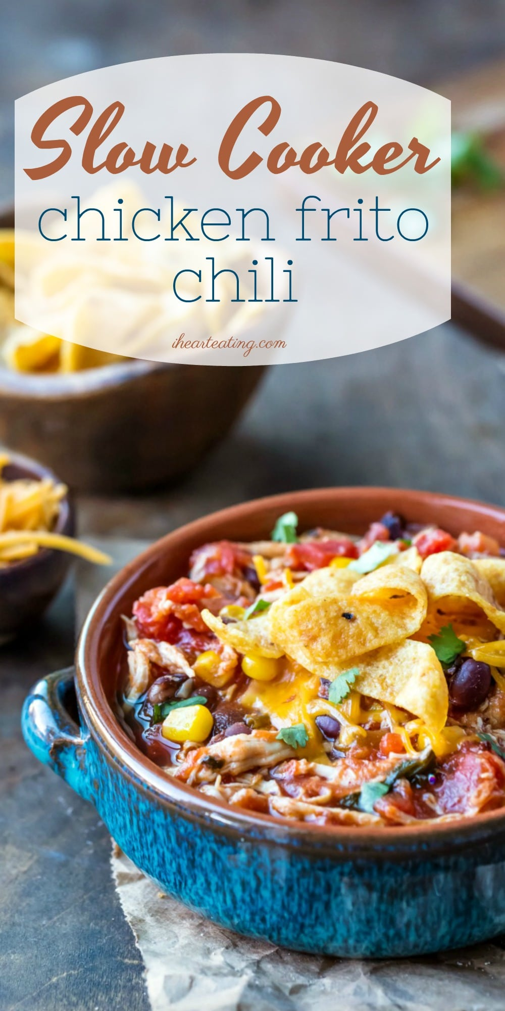 Slow Cooker Chicken Frito Chili is an easy chicken crock pot chili recipe that's made with healthy ingredients and requires almost no prep work. #slowcooker #crockpot #chicken #chili #dinner #recipe