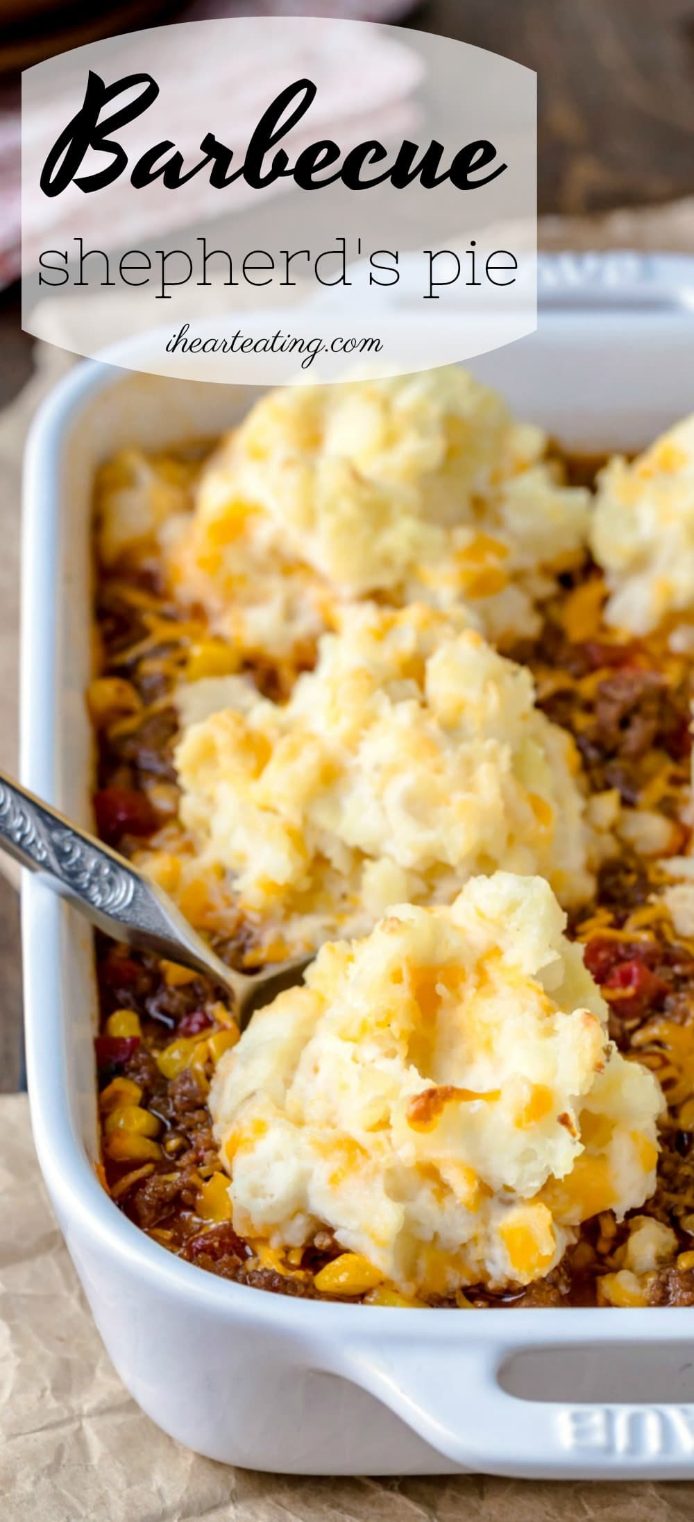 Shepherd's pie recipe made easy for weeknight dinners! This barbecue shepherd's pie is shepards pie meets barbecue burgers topped with simple homemade cheesy mashed potatoes. This family-friendly casserole dinner is a great ground beef recipe! #groundbeef #potato #dinner #recipe #casserole #easy #fast #weeknight #familyfriendly #ihearteating