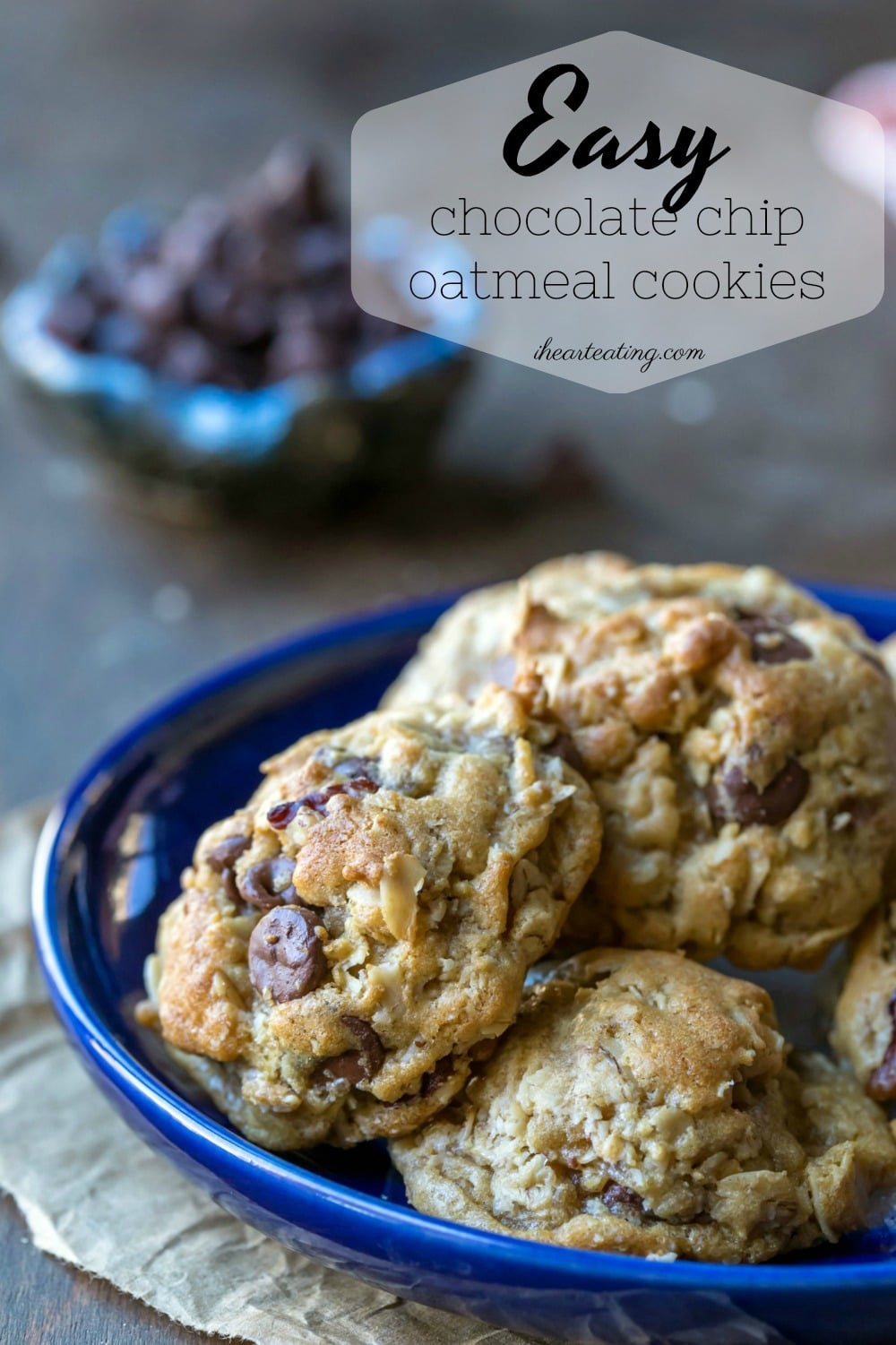 Simple homemade oatmeal cookie recipe that makes thick, soft oatmeal cookies with chewy edges. These easy chocolate chip oatmeal cookies are made in one bowl and are made without white sugar. #oatmeal #chocolatechip #cookies #recipe #best #dessert