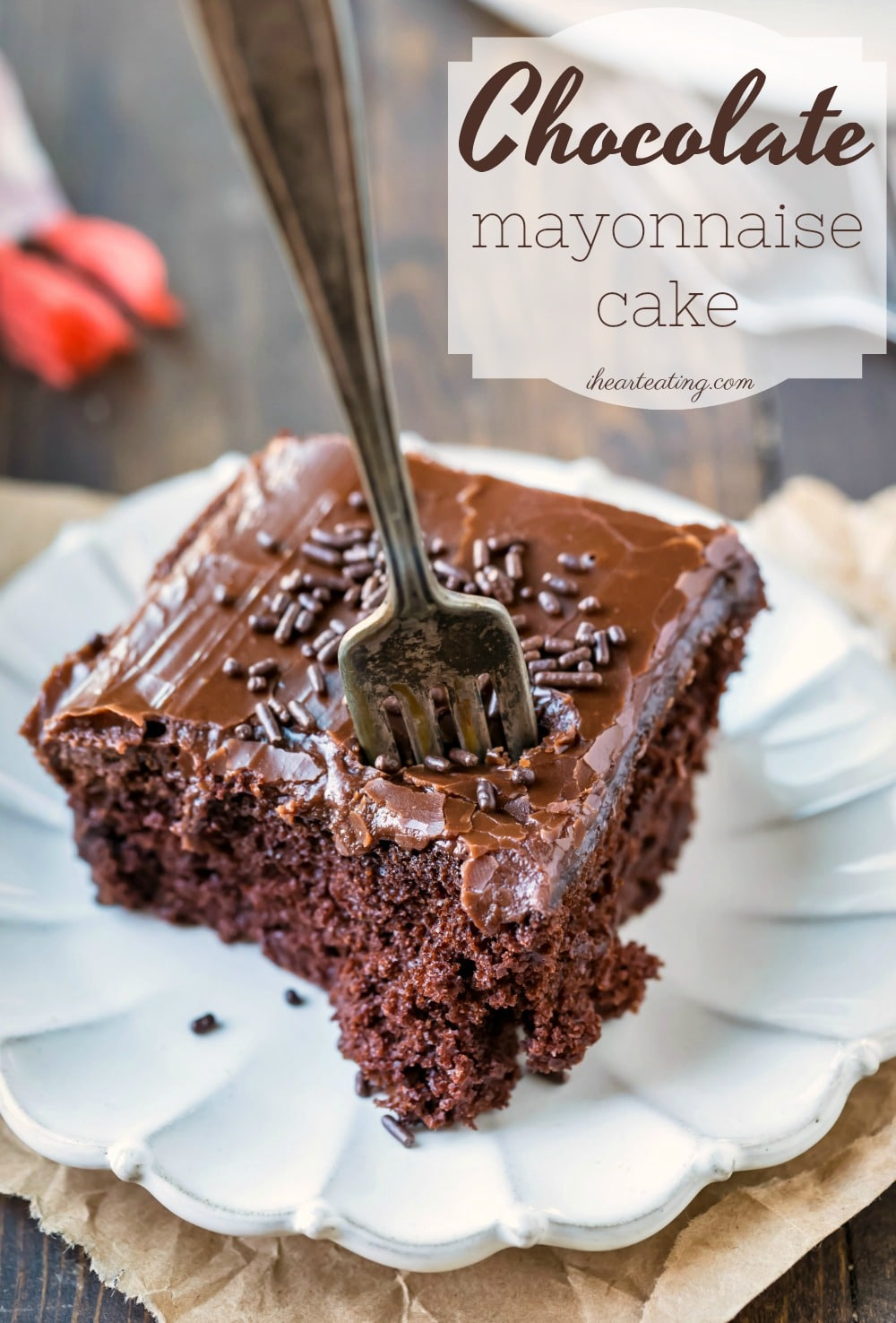 Chocolate mayonnaise cake is a moist chocolate cake that's made from scratch. This dense, not-too-sweet vintage homemade chocolate cake pairs well with sweet chocolate or vanilla buttercream frosting. #chocolate #cake #chocolatecake #dessert #moist #homemade #easy #ihearteating