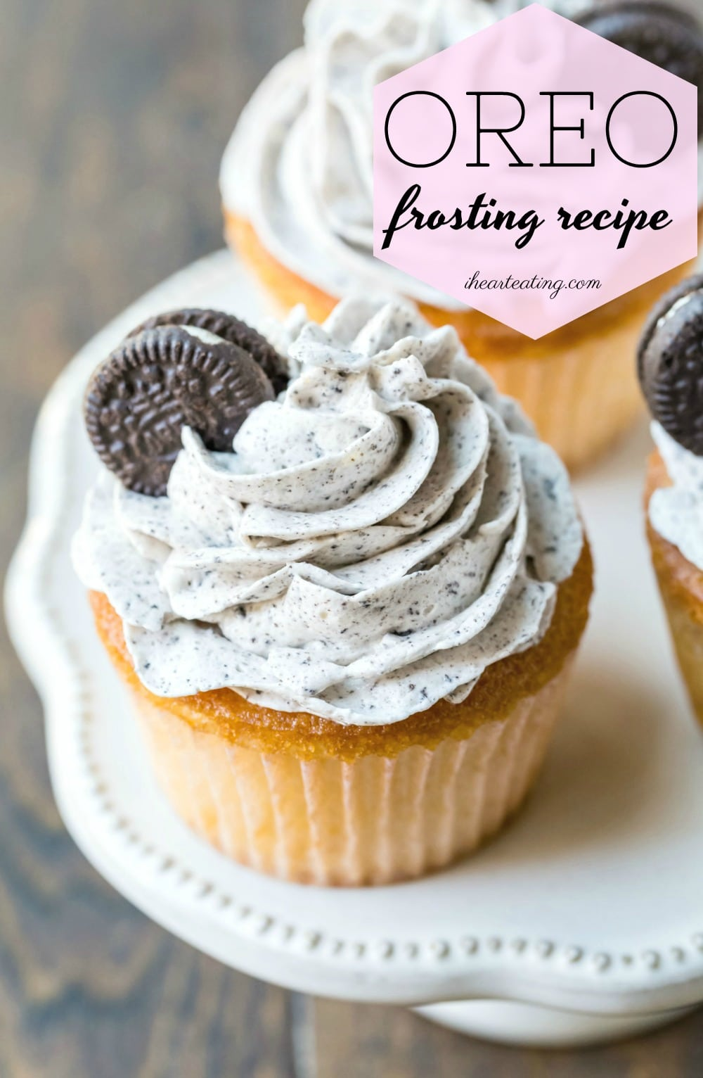 Light and airy OREO frosting recipe is so good on chocolate or vanilla cupcakes! 