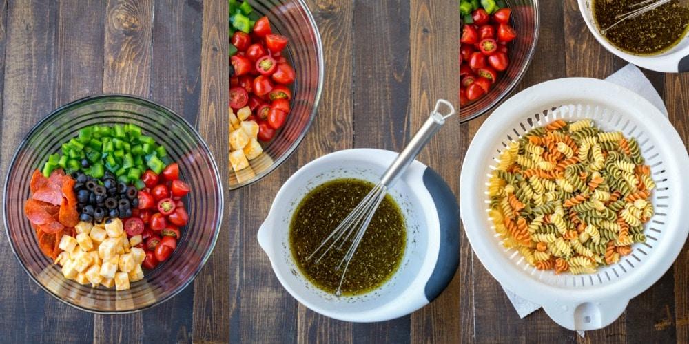 Pasta Salad ingredients dressing and pasta