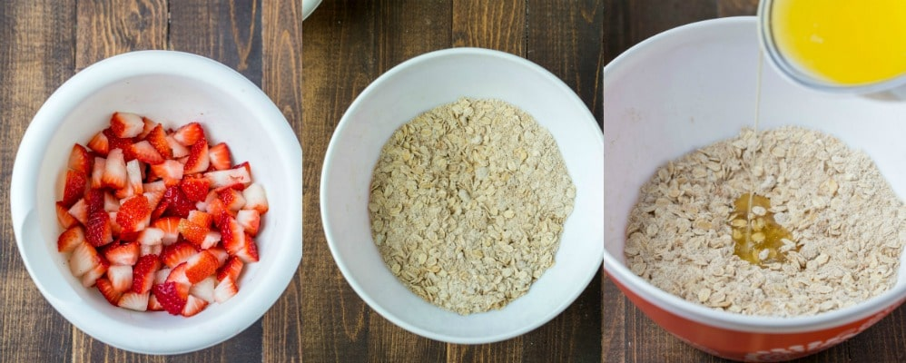 Strawberries and oats for strawberry oatmeal bars