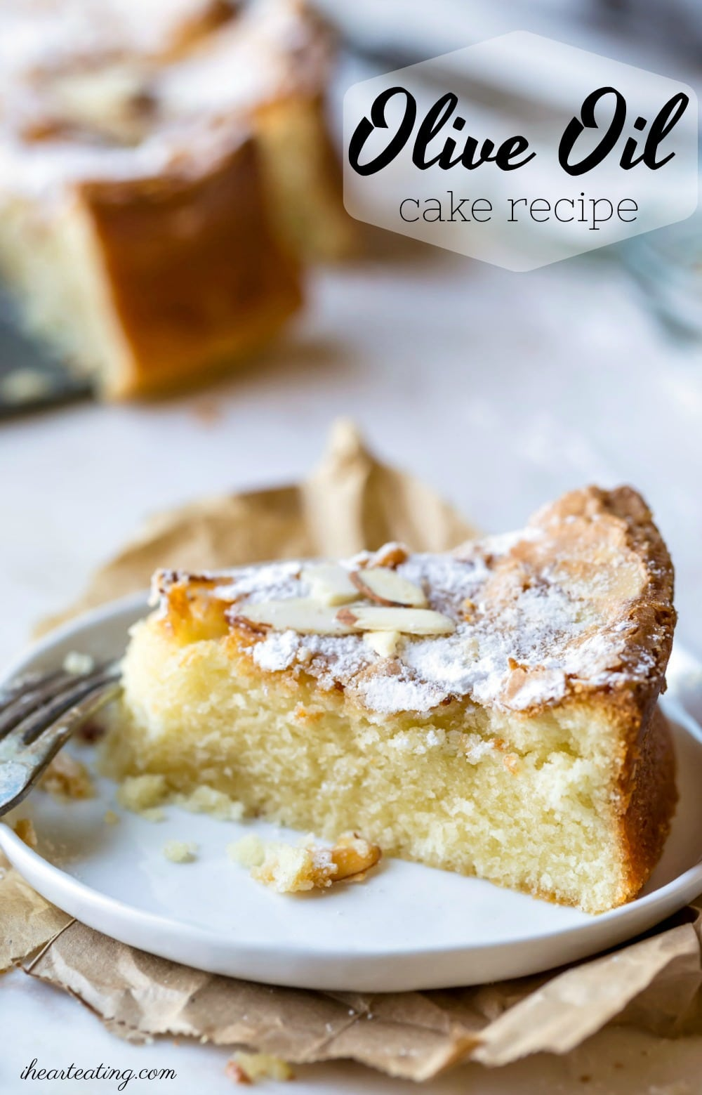 Moist olive oil cake is an easy, one-bowl cake that's a great alternative to pound cake. This simple cake recipe is made with pantry staples and takes almost no prep work to make. #oliveoil #Italian #cake #dessert #healthy #recipe #ihearteating