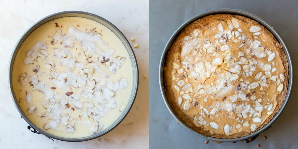 Olive oil cake batter in pan and baked cake