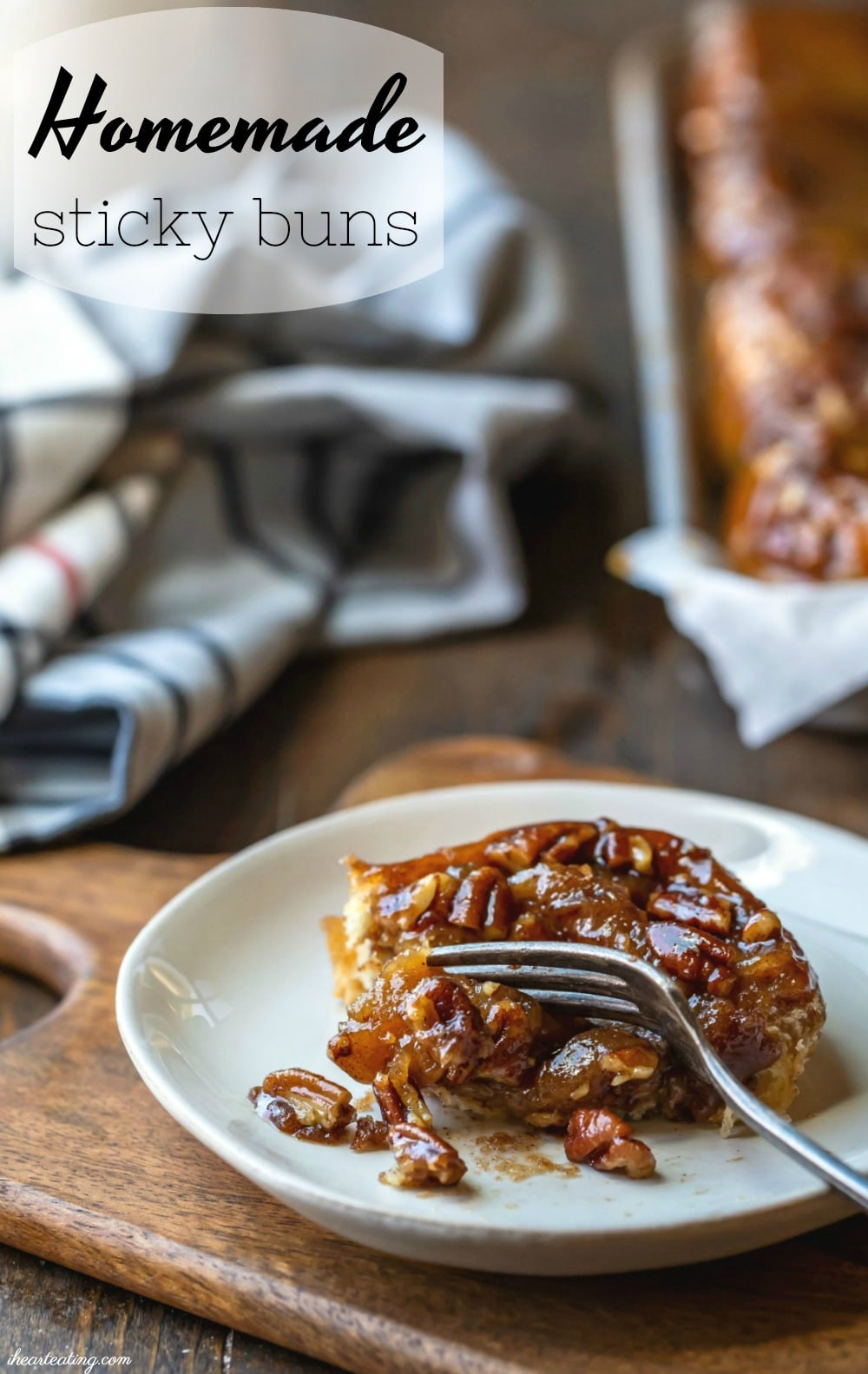 Easy homemade sticky buns start with a simple homemade dough and are topped with a rich, sticky nut topping. #stickybun #breakfast #dessert #recipe #yeast #holiday #Christmas #Thanksgiving #homemade #ihearteating