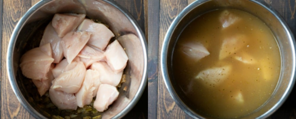 Chicken and broth in Instant Pot for white chicken chili