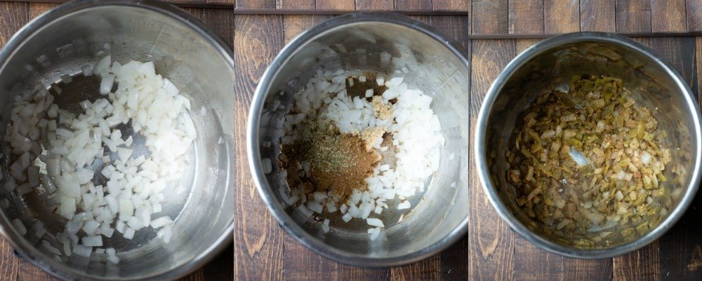Onion, garlic, and seasonings in Instant Pot for white chicken chili
