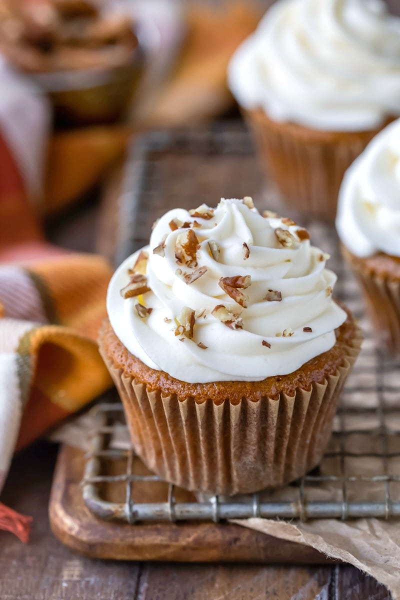 Apple spice cake cupcake with cream cheese frosting