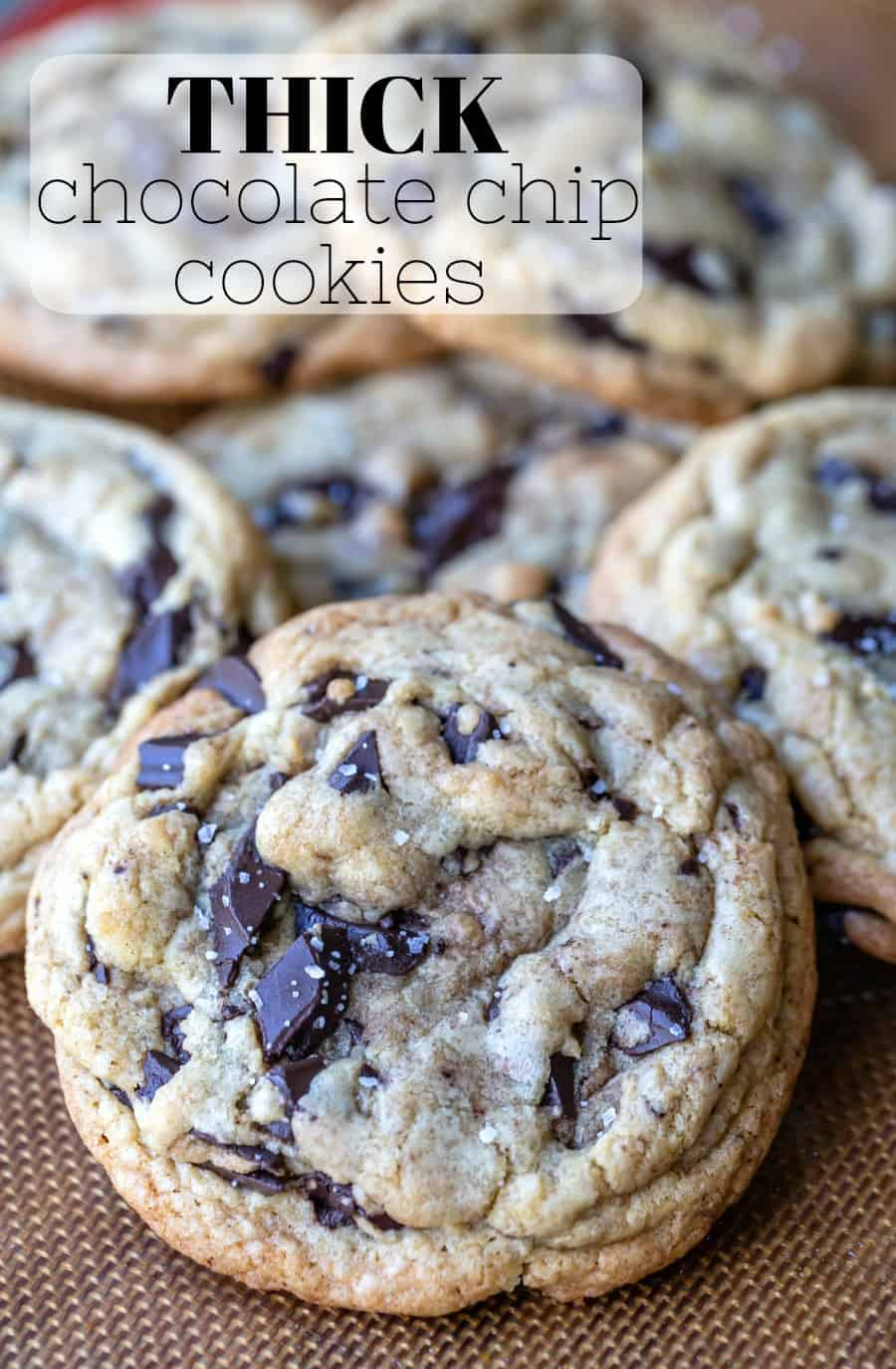This recipe makes the best thick homemade chocolate chip cookies with soft middles and chewy/crisp edges. Best way to make bakery style cookies at home! 